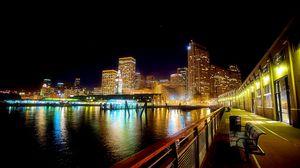 Превью обои панорама, река, здания