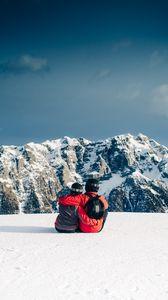 Превью обои пара, горы, путешествие, спорт