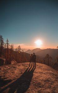 Превью обои пара, горы, путешествие, закат, секвойя, национальный парк, сша