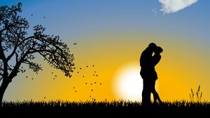 Превью обои пара, любовь, романтика, облако