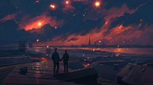 Превью обои пара, ночь, арт, облака, романтика, любовь