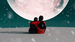 Превью обои пара, объятия, луна, снег, космос