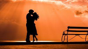 Превью обои пара, поцелуй, любовь