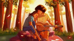 Превью обои пара, романтика, любовь, арт, объятия, гитара