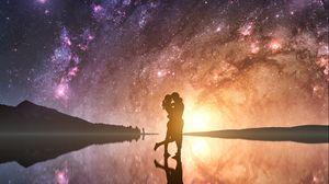 Превью обои пара, силуэты, объятия, любовь, звездное небо, фотошоп