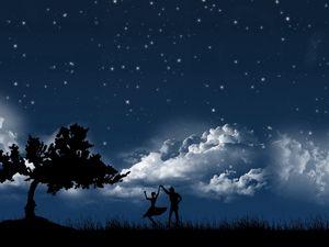 Превью обои пара, танец, небо, ночь, дерево, силуэты, облака, звезды