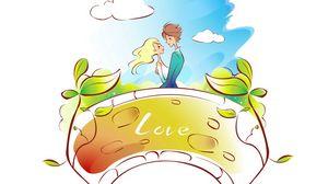 Превью обои пара, влюбленные, деревья, поцелуй