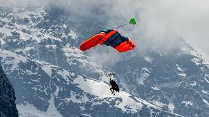 Превью обои параплан, парашют, горы, снег, заснеженный