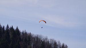Превью обои парашют, парашютист, деревья, небо