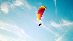 Превью обои парашют, полет, экстрим, небо, высота