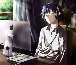 Превью обои парень, аниме, компьютер, слезы, грусть, комната