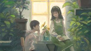 Превью обои парень, девушка, арт, оранжерея, цветы, окно
