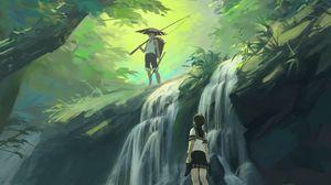 Превью обои парень, девушка, водопад, арт, лес, джунгли