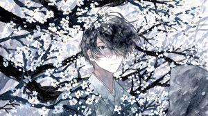 Превью обои парень, кимоно, самурай, сакура, аниме, арт