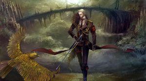 Превью обои парень, меч, птица, дорога, мост, замок