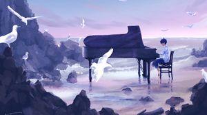 Превью обои парень, музыкант, рояль, птицы, аниме, арт