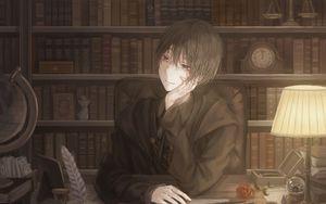 Превью обои парень, писатель, книги, аниме, арт