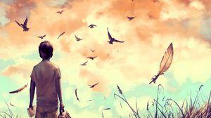 Превью обои парень, птицы, арт, одиночество, уединение