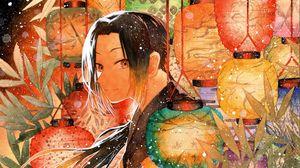 Превью обои парень, самурай, японские фонарики, аниме, арт