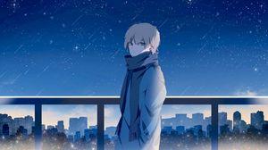 Превью обои парень, шарф, звездное небо, звезды, ночь, аниме