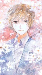 Превью обои парень, улыбка, цветы, акварель, аниме, арт