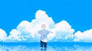 Превью обои парень, жест, облака, вода, свобода, аниме, арт
