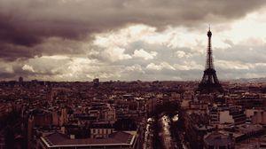 Превью обои париж, эйфелева башня, вид сверху