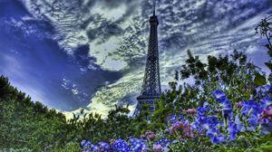 Превью обои париж, франция, эйфелева башня, цветы, небо, hdr