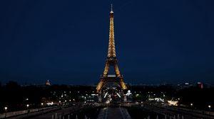 Превью обои париж, франция, эйфелева башня, город, ночь, огни