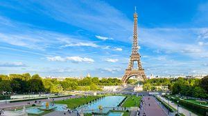 Превью обои париж, франция, эйфелева башня, небо, голубой
