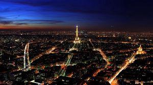 Превью обои париж, франция, ночь, вид сверху, огни города