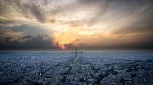 Превью обои париж, франция, архитектура, закат, небо, вид сверху