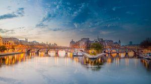 Превью обои париж, франция, река сена, мост