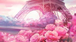 Превью обои париж, цветы, башня, арт