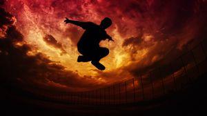 Превью обои паркур, силуэт, прыжок, небо, облака, забор