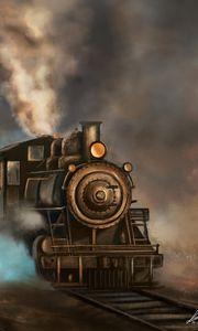 Превью обои паровоз, поезд, рельсы, дым, арт