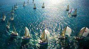 Превью обои паруса, мачты, яхты, океан, море