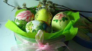 Превью обои пасха, праздник, яйца, коробка, лента, бант, верба, весна
