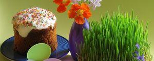 Превью обои пасха, яйца, праздник, цветы, ваза, кулич, тарелка, ростки
