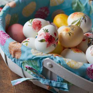 Превью обои пасхальные яйца, яйца, пасха, корзинка, узор