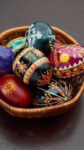 Превью обои пасхальные яйца, пасха, яйца, корзинка