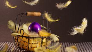 Превью обои пасха, корзинка, перья, яйцо