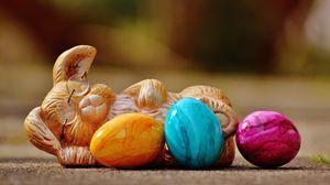 Превью обои пасха, пасхальный кролик, яйца