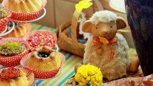 Превью обои пасха, торт, праздник, барашек, выпечка