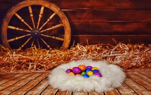 Превью обои пасха, яйца, гнездо, сено