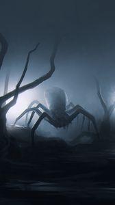 Превью обои паук, насекомое, деревья, арт, страшный