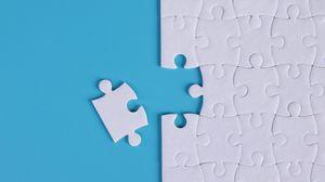 Превью обои пазл, головоломка, фрагменты, белый, синий