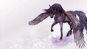 Превью обои пегас, конь, крылья, вода