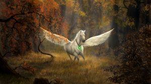 Превью обои пегас, лошадь, крылья, лес, фентези, арт