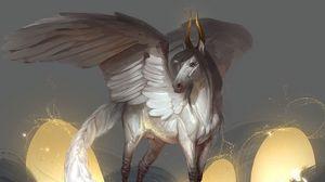 Превью обои пегас, крылья, рога, фэнтези